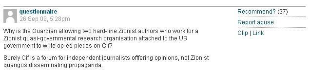questionnaire antisemitic comment