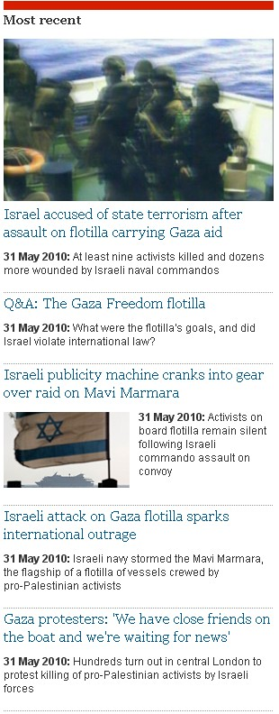 Guardian's Obsession with Israel – May 31, 2010