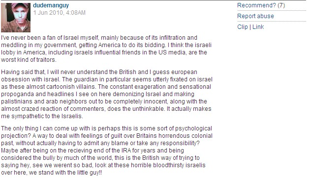 The Antisemite Criticizing the Guardian of Israel Obsession!