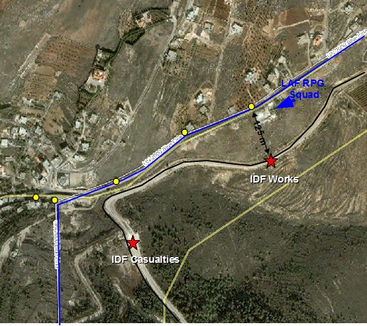 New map of LAF attack on IDF troops along Israel's Northern border