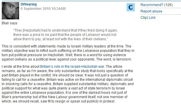 CiF columnist offended by Tony Blair's characterization of Hezbollah as the root cause of instability in Lebanon