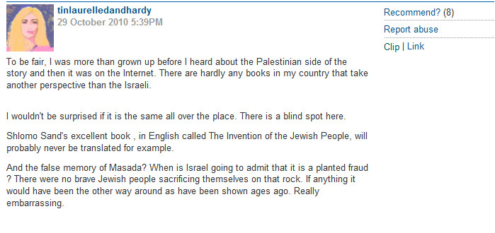 The Israeli Narrative of the Guardian Commenter
