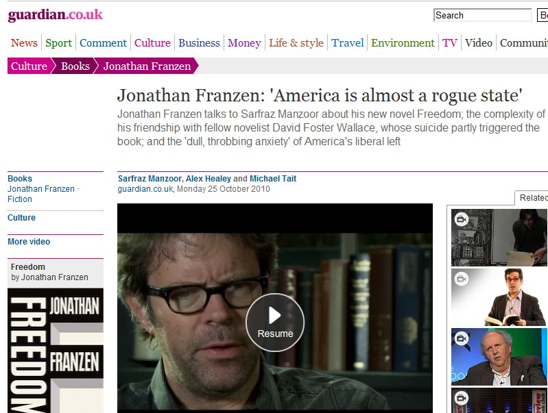 """The """"dull and throbbing"""" anti-Americanism of Jonathan Franzen (The Guardian interview)"""