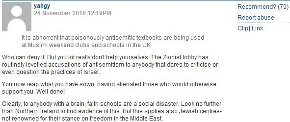 CiF comments of the day (fed up with Jews….)