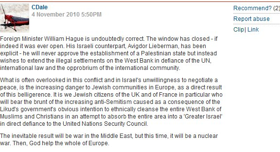 CiF commenter unhinged anti-Israel comment of the day