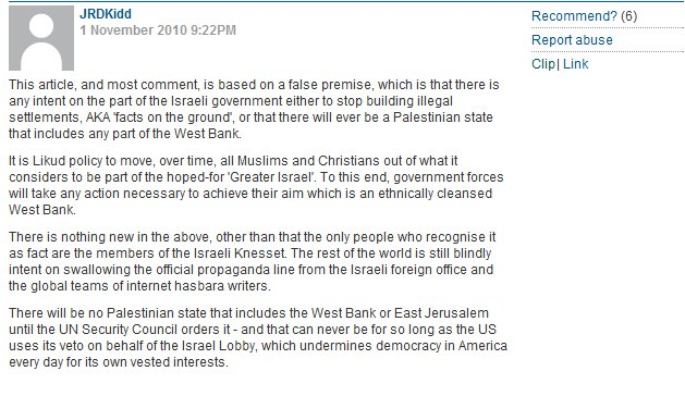 "CiF ""Israel lobby controls U.S. foreign policy"" comment of the day"