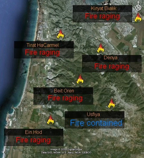 Carmel fire approaches Haifa: Fire shows no sign of dying down