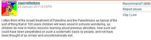 "Palestine Papers piece inspires 842 Guardian readers to agree that Israel is a uniquely ""Evil"" nation"
