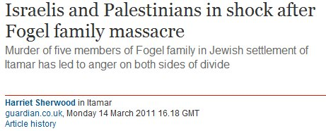 Guardian's bizarre headline on story about deadly terrorist attack in Itamar (Updated)