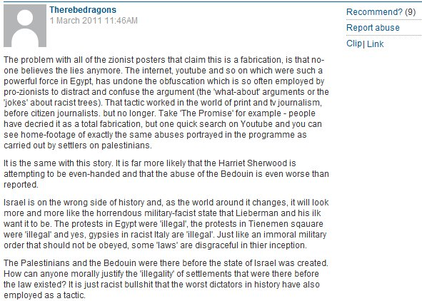 "More hatred beneath Sherwood's post (Reader cites Kosminsky's show, ""The Promise"", in wishing for Israel's demise)"