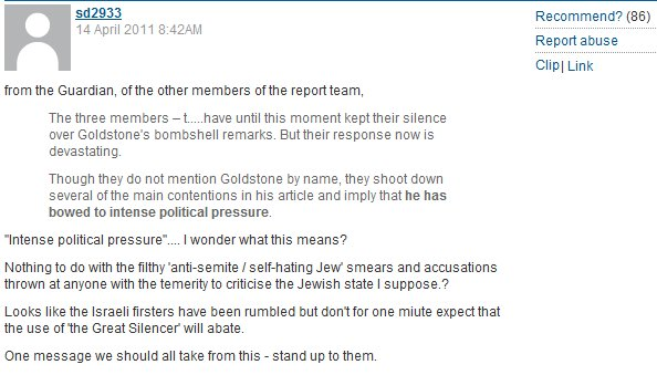 Guardian readers unleash hateful anti-Israel vitriol in response to Goldstone Report defense