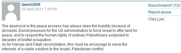 Hateful Guardian reader comments about Jews & Israel beneath Daniel Levy's celebration of Hamas
