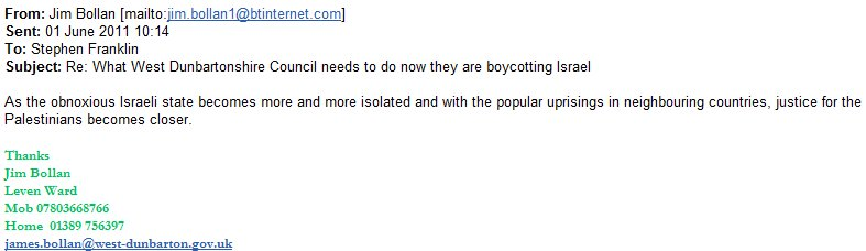 Jim Bollan (Scottish BDS Advocate) anti-Israel Emails of the Day