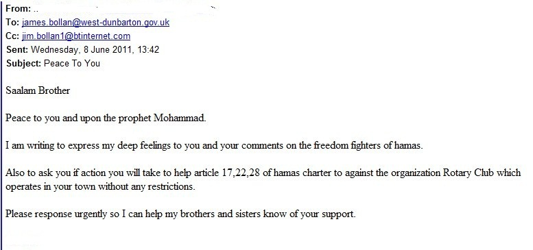 Chilling email exchange between Scottish BDS advocate, Jim Bollan, and someone he believed was a Hamas supporter