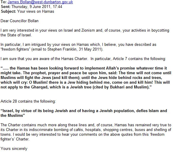 In new email exchange, Jim Bollan claims to have read Hamas charter; finds nothing objectionable about anti-Semitic sections