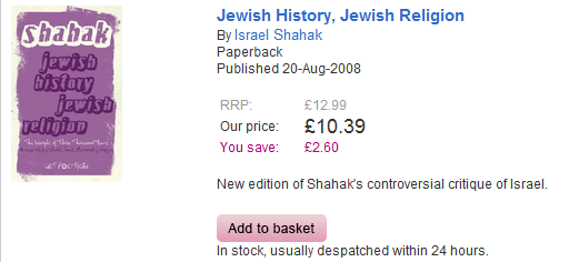 Israel section of the Guardian's online bookshop includes a work by David Duke's favorite Jew