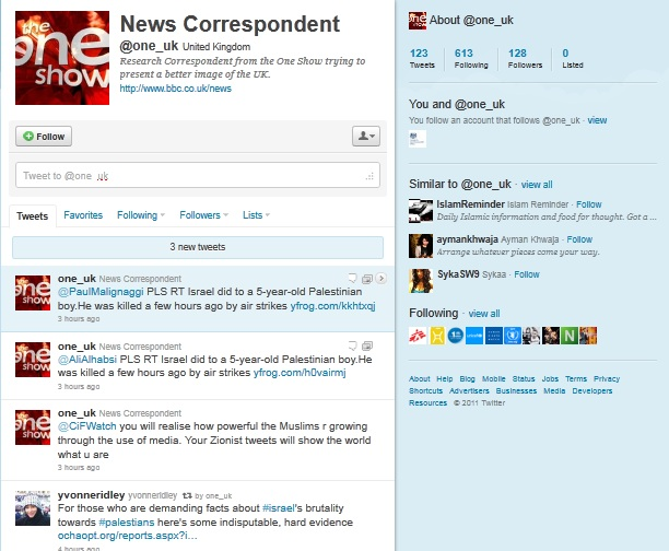 "The BBC: Trying to present a better image of the UK by exposing ""Zionist Tweets"" for all to see"