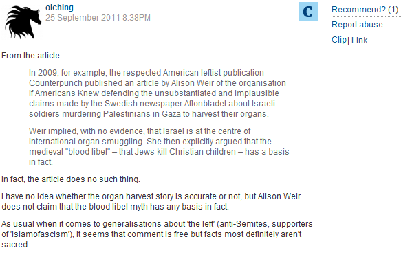 CiF piece critical of Gilad Atzmon elicits storm of antisemitic reader comments, including organ theft libels
