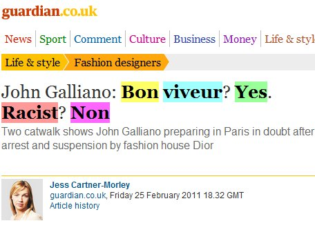 Galliano found guilty of racism.  A short postscript on the Guardian's initial coverage