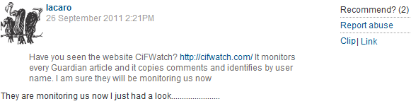 Guardian readers note CiF Watch's presence, & object to our suggestion that blood libel against Jews is false