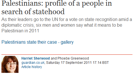 Harriet Sherwood's report on ordinary Palestinians seeking statehood includes profile of Abu Ahmed: Profession, Terrorist