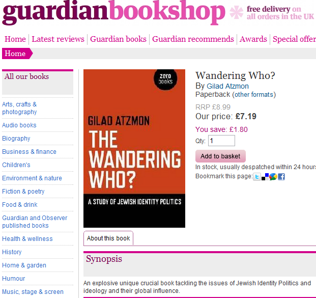 At the Guardian's online bookshop, antisemitism is shipped within 24 hours!