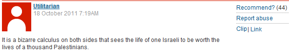 Guardian readers view release of Shalit for 1027 terrorists as evidence of Israeli racism!
