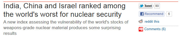 Fisking a Guardian report assessing Israel's performance on nuclear security