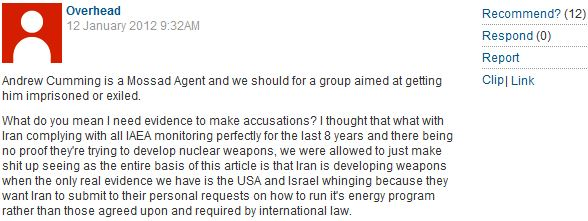 The Iranian Guardians: CiF readers come out in force to demonize Israel, & defend Islamist regime