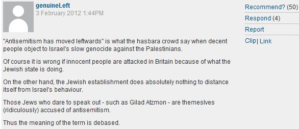 You know you're an antisemitic Guardian reader when…you defend Gilad Atzmon