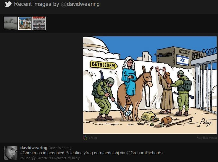 Guardian contributor David Wearing's Twitter pic: The Israeli Grinch who steals Christmas