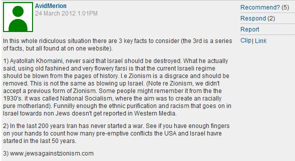 'Comment is Free' reader Zionism = Nazism comment of the day