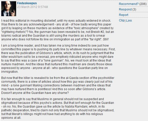 Guardian reader's outrage with paper's latest propaganda about antisemitic murders in Toulouse