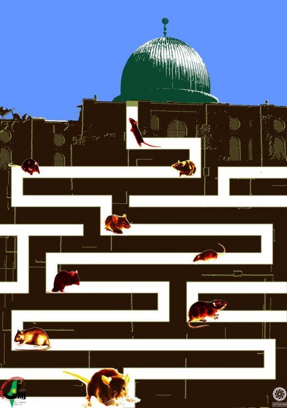 Jews portrayed as rats, infiltrating the Al Aqsa Mosque