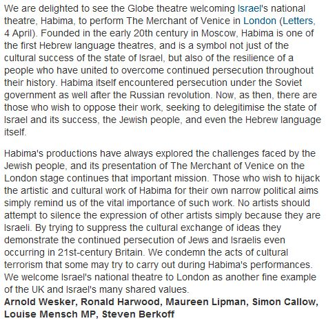 "Letter published in the Guardian: ""We welcome Israel's national theatre"""