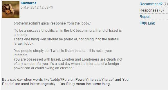 CiF reader comment of the day: How the Israel lobby defeated Ken Livingstone
