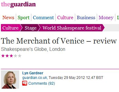 Guardian critic's review of Israeli 'Merchant of Venice' includes predictable Palestinian fixation