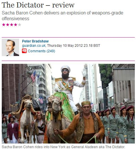 Guardian reader directs off-topic, anti-Zionist vitriol towards Sasha Baron Cohen