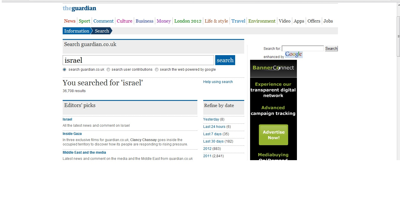 The relative relevance of a search on the Guardian website