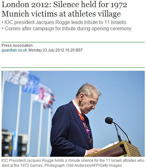 Can you find the glaring omissions in Guardian story on IOC ceremony for Munich victims?