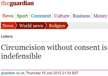 "Guardian readers unleash fury at Jewish ""mutilation"" custom known as male circumcision"