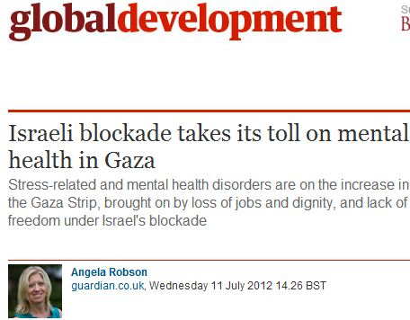 Guardian story on mental health crisis, and lack of freedom, in Gaza ignores Hamas, & blames Israel