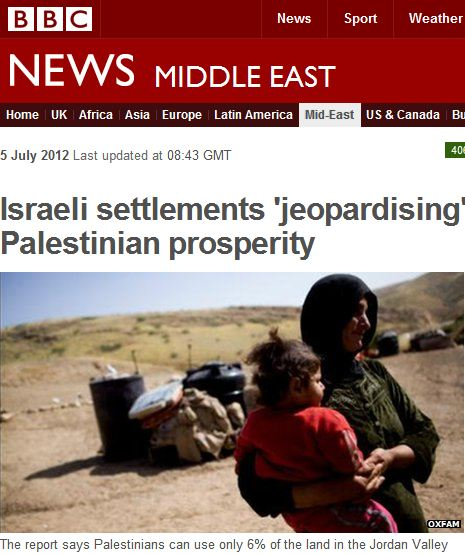 Oxfam Distorts, BBC Reports: Jews Stealing land and water from Palestinians