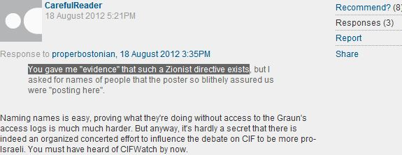 Guardian reader comment of the day: On CiF Watchers and their 'Zionist Directives'