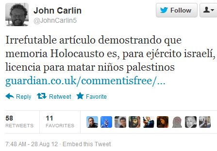 On the inspiration behind a 'Comment is Free' contributor's Tweet alleging Israeli savagery