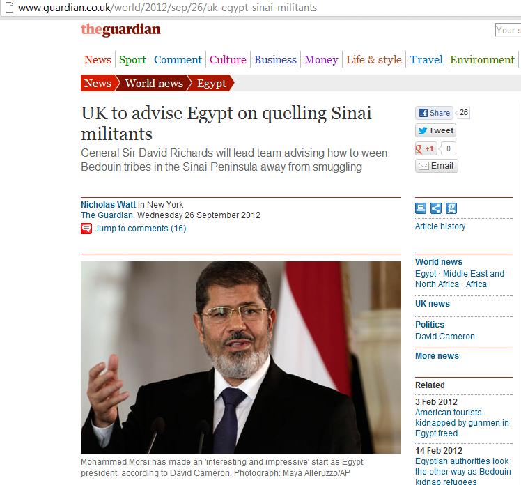 Guardian on British plans for Sinai