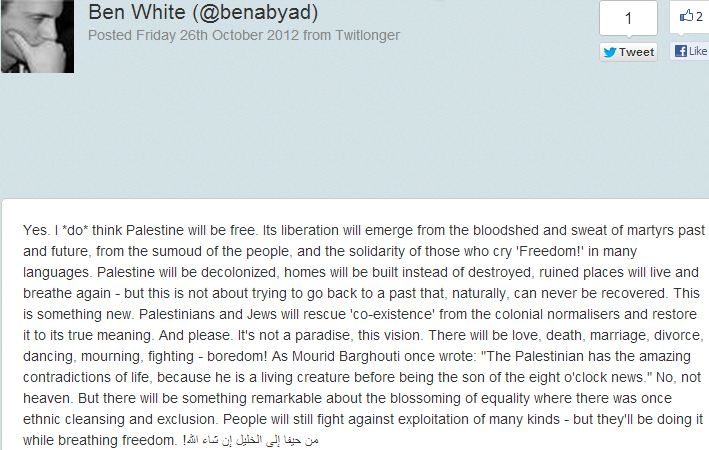 "Ben White dreams that, by the ""bloodshed and sweat of martyrs"", Palestine will be free!"