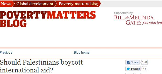 Guardian contributor tells Palestinians to boycott Western aid if it 'disempowers' terrorist groups