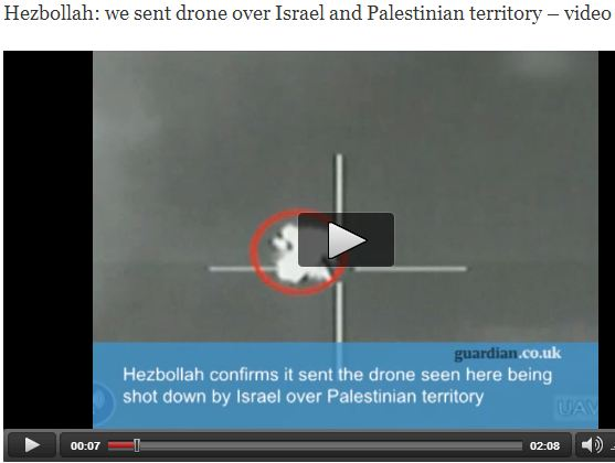 "Guardian video falsely claims that Hezbollah drone was shot down over ""Palestinian territory""."