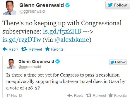 US Congressional resolution supporting Israel makes Glenn Greenwald's head explode